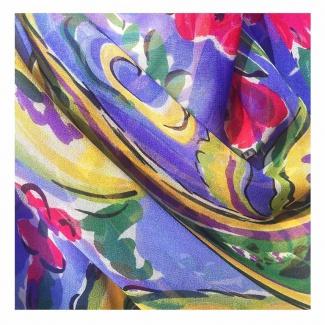 Hodvábny šál Bleu Art - detail