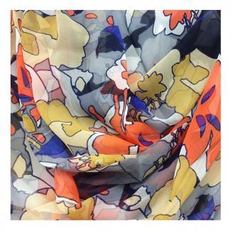 Hodvábny šál Mila Schön Flowers - oranžový