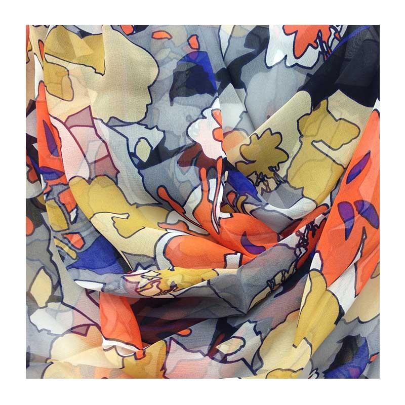 Hodvábny šál Mila Schön Flowers - oranžový - detail