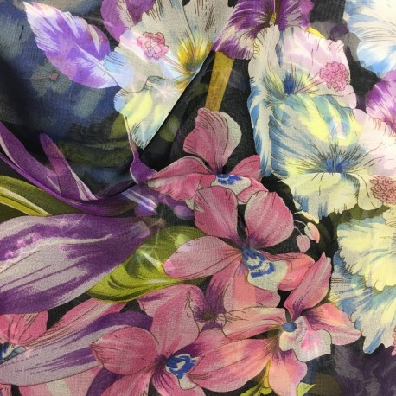 Hodvábny šál Hibiscus