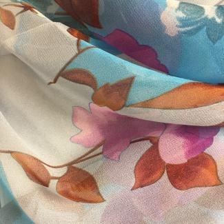 Hodvábny šál Ikebana